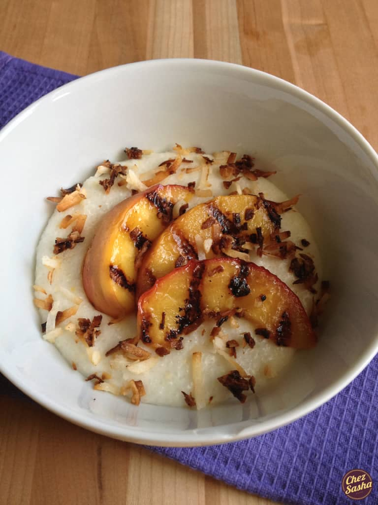 Coconut grits w/ grilled peaches