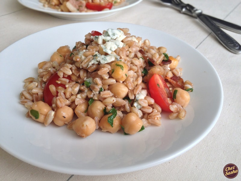 Farro salad w/ bacon, blue cheese and tomatoes
