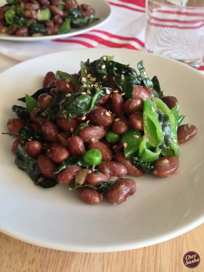 Kidney bean, sugar snap pea and kale salad w/ miso dressing