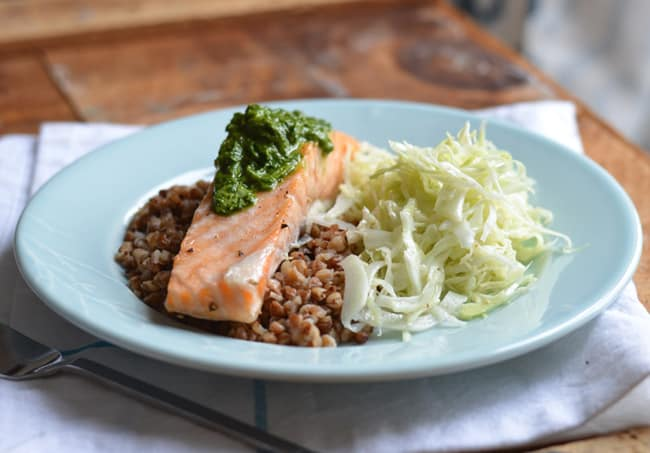 Baked Salmon with Buckwheat Kasha and Cilantro Pistou