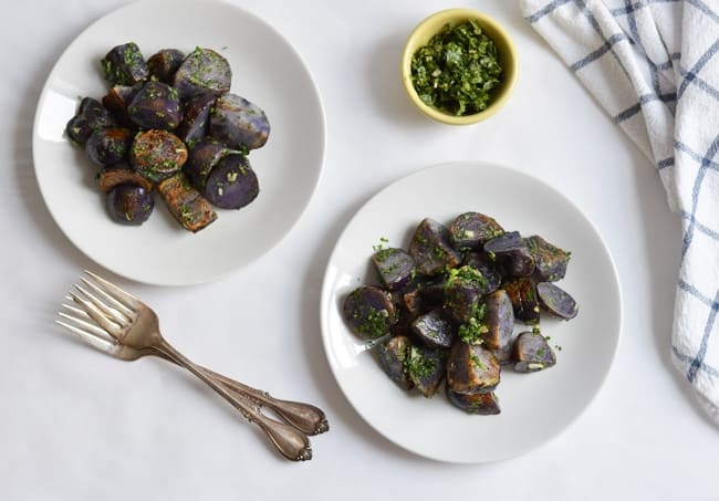 Pan-Fried Purple Potatoes with Cilantro Gremolata