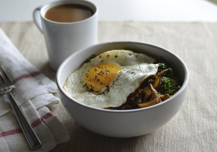 Savory Oatmeal with Shiitake Bacon, Kale and Fried Egg