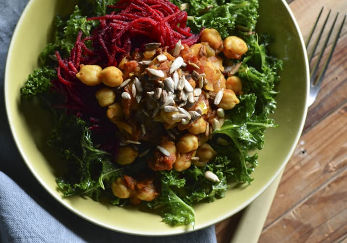Chana Masala Kale Bowl with Beets & Sunflower Seeds