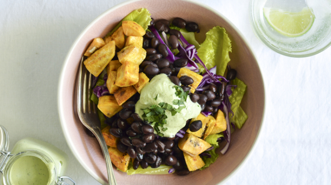 Fried Green Plantain Bowl with Beans, Veggies & Cilantro-Lime Cashew Cream