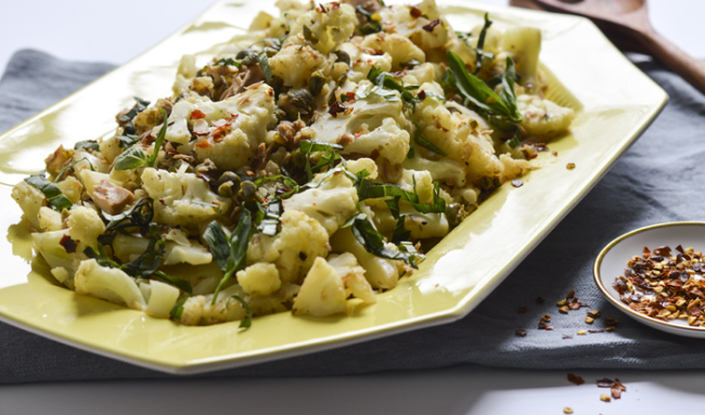 Sauteed Cauliflower with Tuna, Capers and Herbs