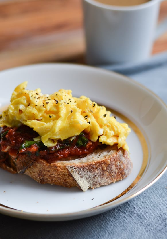 Kale-Tomato Sauce on Toast with Soft-Scrambled Eggs