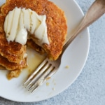 Vegan Cornmeal Pancakes with Lemon-Maple Tahini Drizzle | The New Baguette