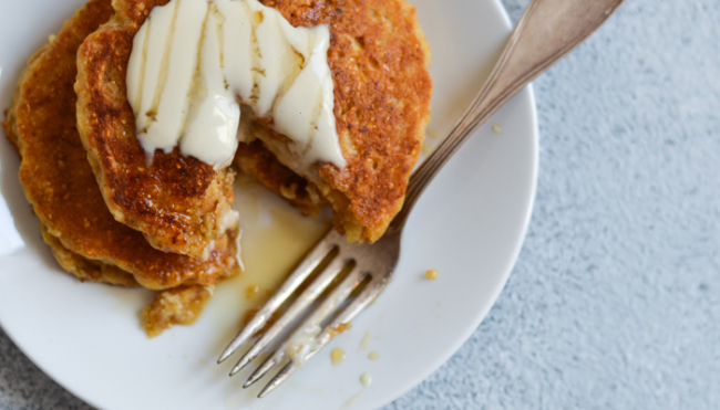 Vegan Cornmeal Pancakes with Lemon-Maple Tahini Drizzle