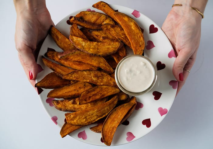 Oven-Baked Sweet Potato Wedges with Buffalo-Style Blue Cheese Dip
