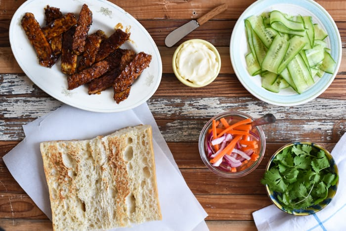 Tempeh Bahn Mi Sandwich with Pickled Carrots & Onions | The New Baguette
