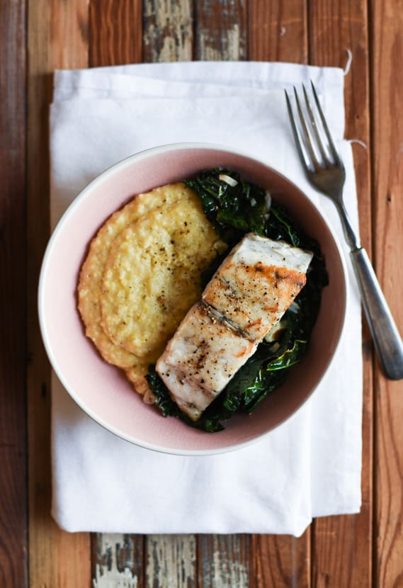 Seared Barramundi with Creamy Polenta and Garlicky Kale | The New Baguette