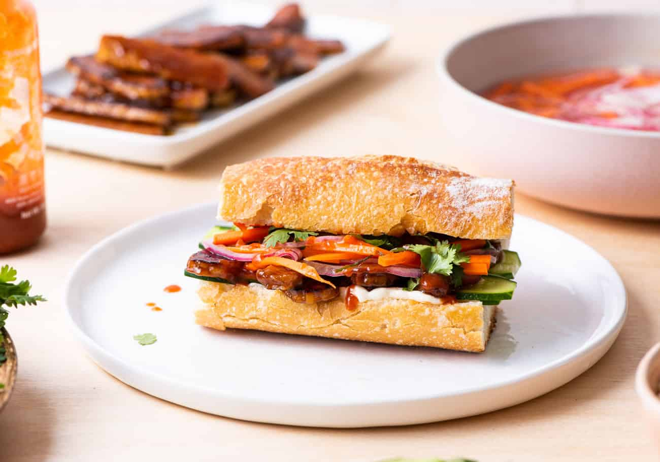 Tempeh Bahn Mi Sandwich with Pickled Carrots & Onions   The New Baguette