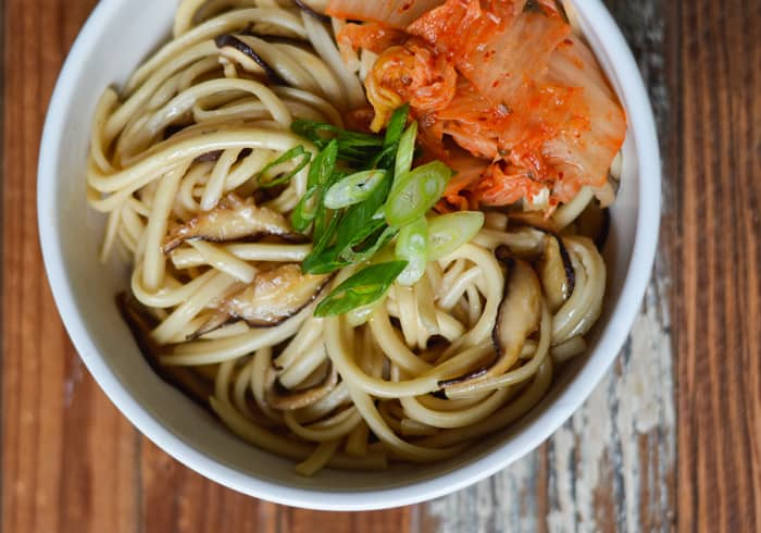 Udon Noodles with Shiitakes and Kimchi