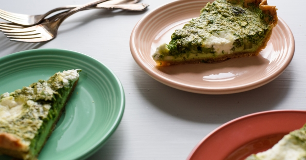 Spinach-Asparagus Quiche with Ricotta