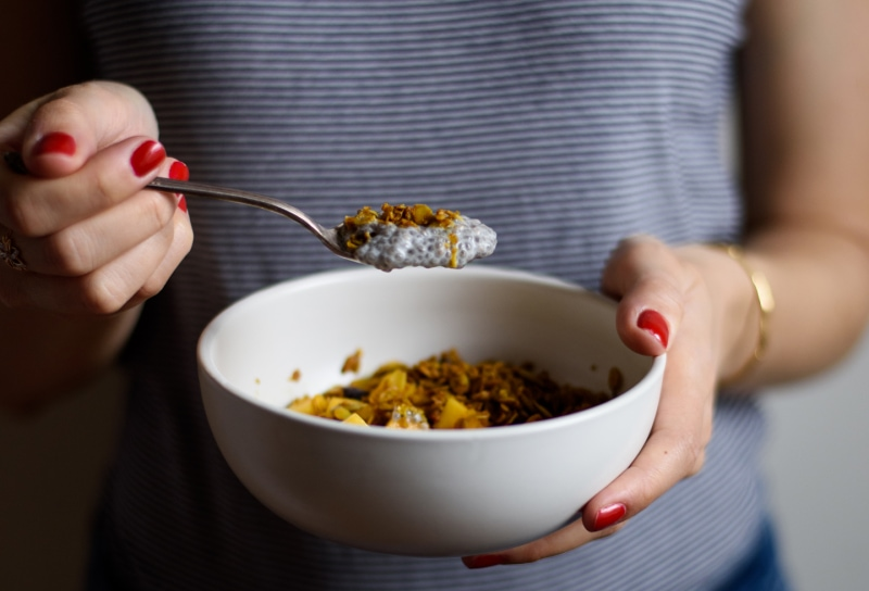 The Breakfast Club: Cardamom Chia Pudding with Mango and Turmeric Granola