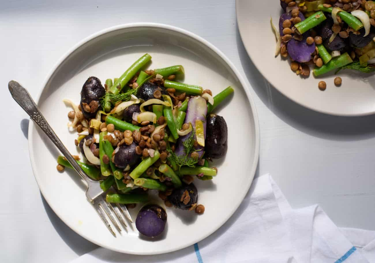Purple Potato Salad with Green Beans and Red Wine Braised Lentils| Healthy Vegetarian Recipes | The New Baguette
