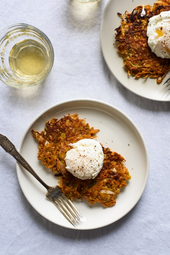 Savory Vegetable-Kimchi Pancakes with Poached Eggs | The New Baguette