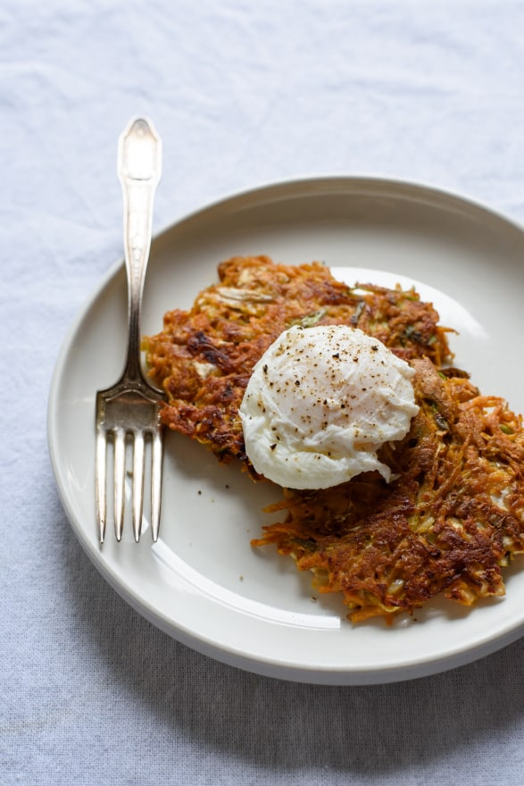 Vegetable-Kimchi Pancakes with Poached Eggs | The New Baguette