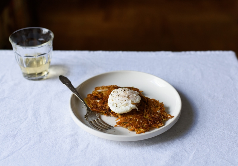 Savory Vegetable-Kimchi Pancakes with Poached Eggs