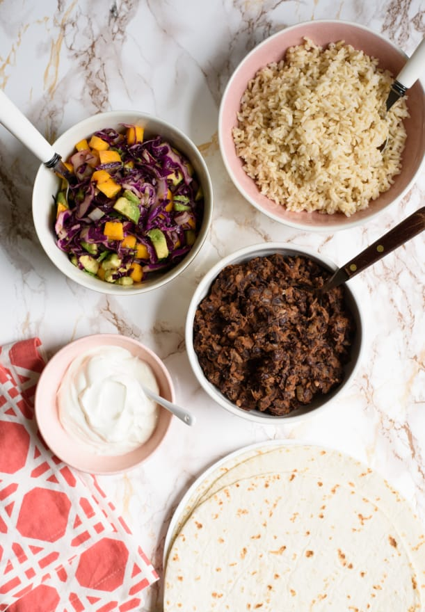 Burrito with BBQ Black Beans and Purple Cabbage-Mango Slaw | Healthy Vegetarian Recipes | The New Baguette
