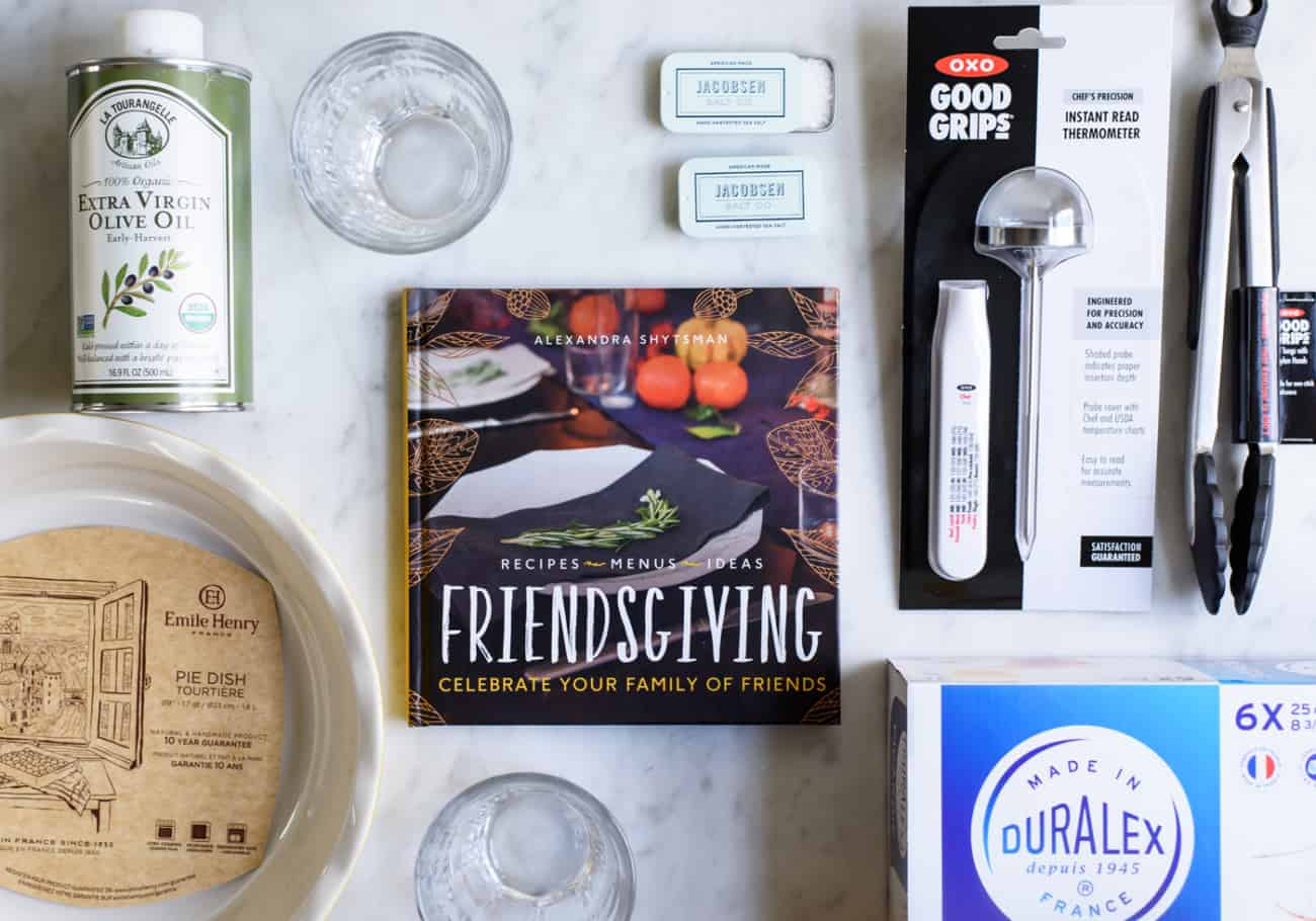 Enter to Win The Ultimate Friendsgiving Giveaway! Includes a signed copy of the Friendsgiving cookbook + brands like OXO, Emile Henry, Duralex, La Tourangelle, Jacobsen Salt Co. | The New Baguette