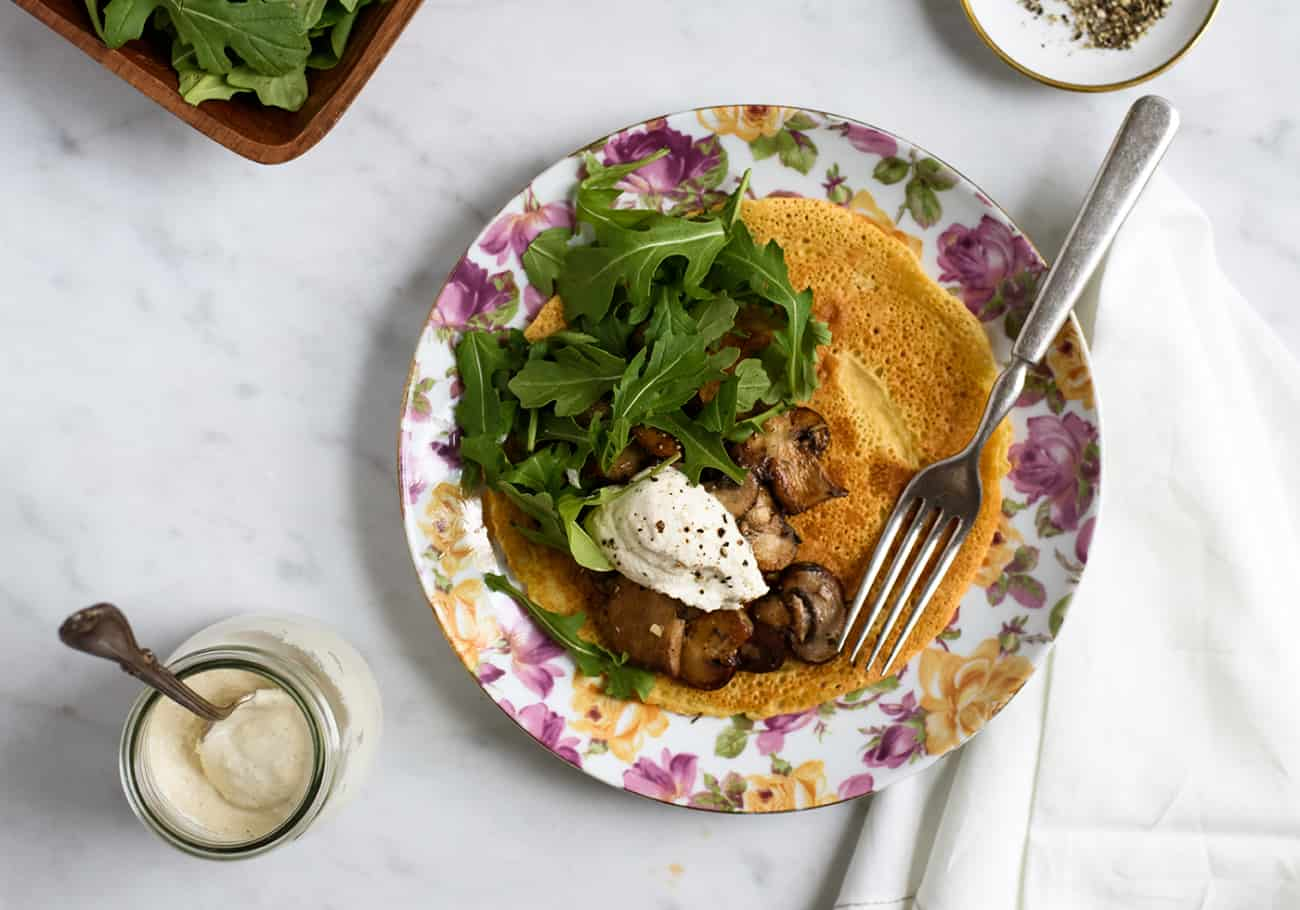 Socca with Garlicky Mushrooms, Arugula and Cashew Cream | Vegan & Gluten-Free Dinner Recipe