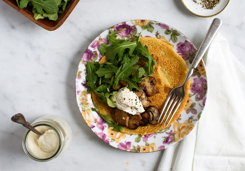 Cooking From Cookbooks: Socca with Garlicky Mushrooms, Arugula and Cashew Cream