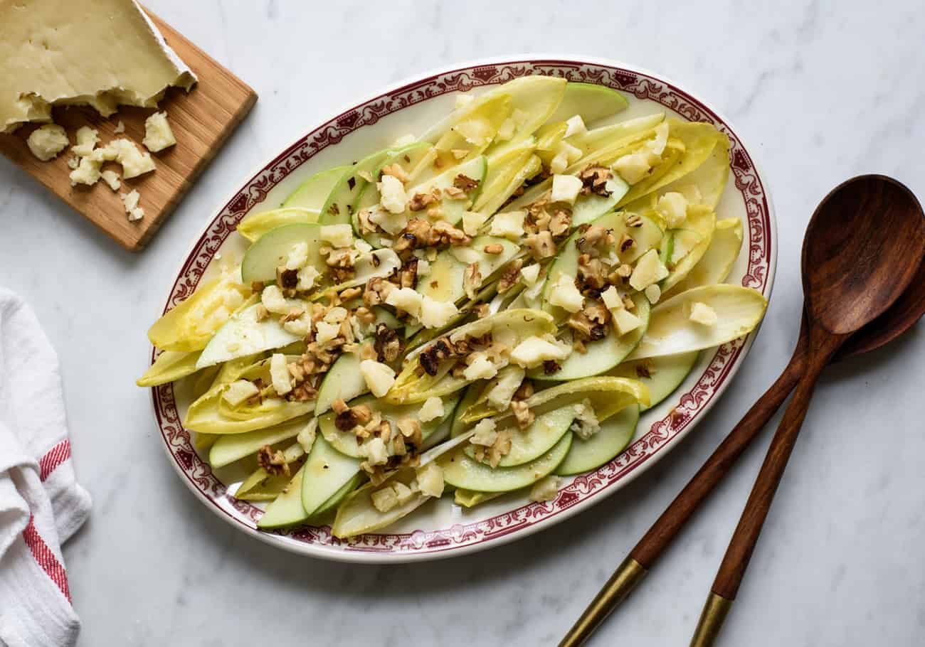 Endive Apple Salad with Honey-Mustard Vinaigrette, Walnuts and Bethmale Chèvre | The New Baguette
