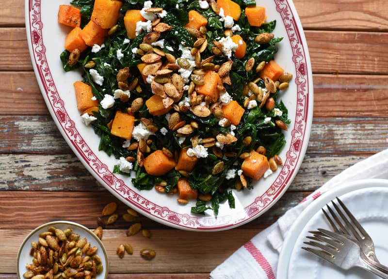 Kale and Butternut Squash Salad with Spicy Seeds and Goat Cheese | Thanksgiving Sides | The New Baguette