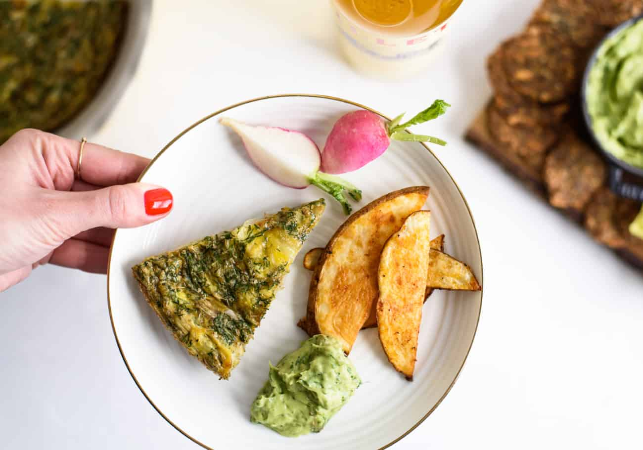 Yes Way, Buffet: 4 Tips and a Menu for a Stress-Free Spring Brunch | Artichoke Frittata & Avocado Green Goddess Dip