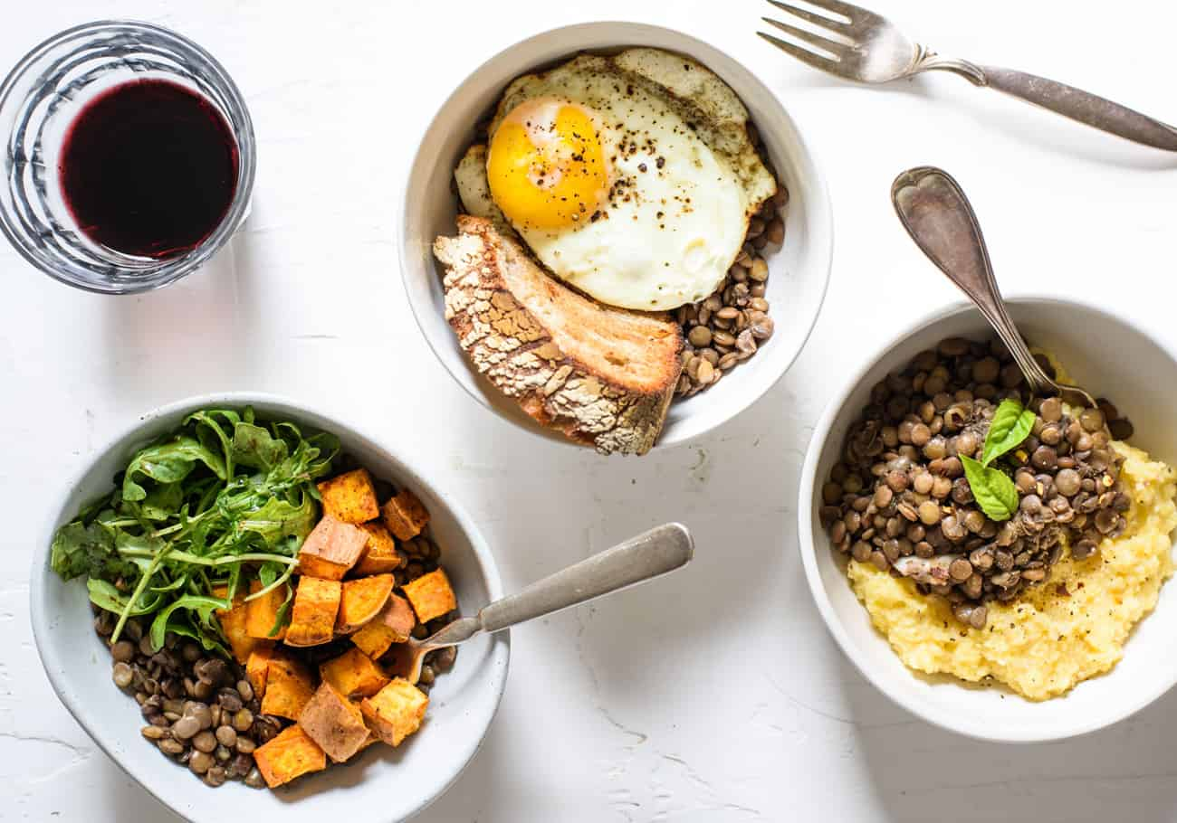 The Easiest Braised Lentils with Red Wine (Served 3 Ways)