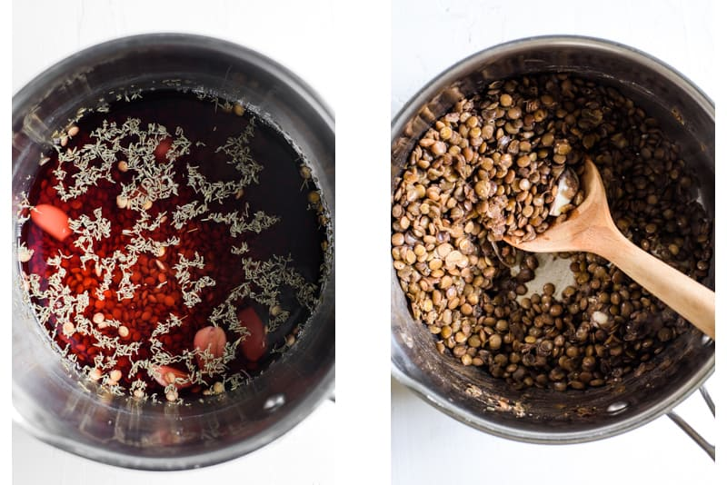 Braised lentils recipe, before and after cooking