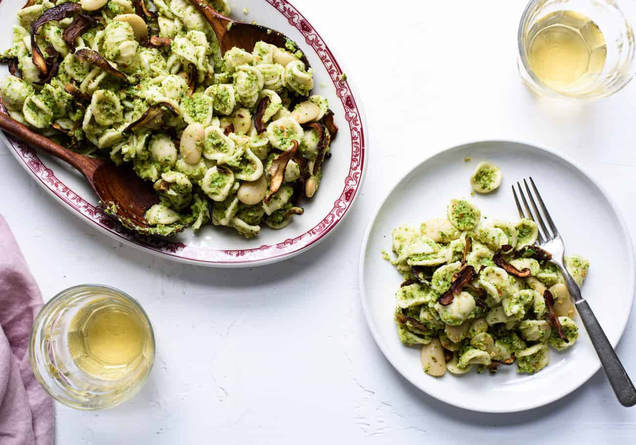 Orecchiette with Broccoli Pesto, Butter Beans and 'Shiitake Bacon'