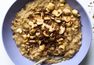 Coffee Oatmeal with Chocolate and Hazelnuts