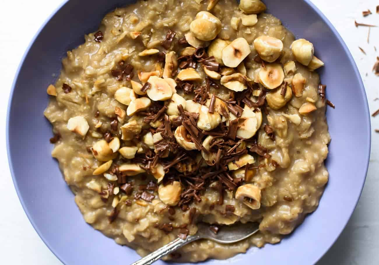 Coffee Oatmeal with Chocolate and Hazelnuts | The New Baguette