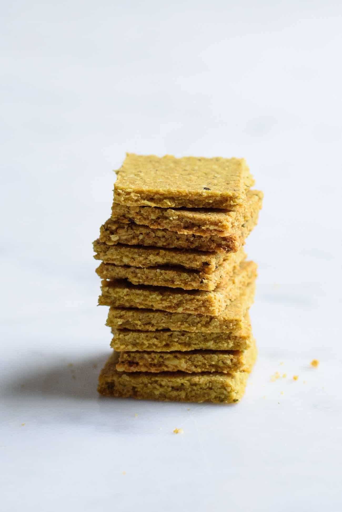 Stack of vegan homemade crackers