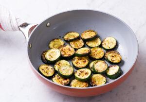 Sauteed zucchini in a skillet