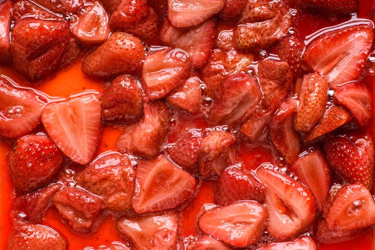 Close-up of jammy roasted strawberries