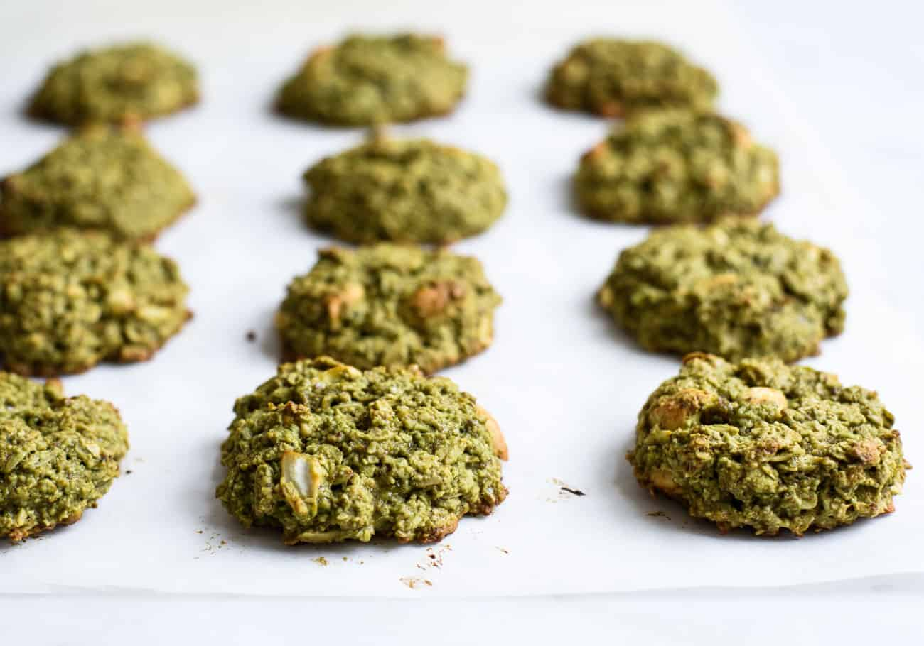 Matcha Oatmeal Cookies on white parchment paper