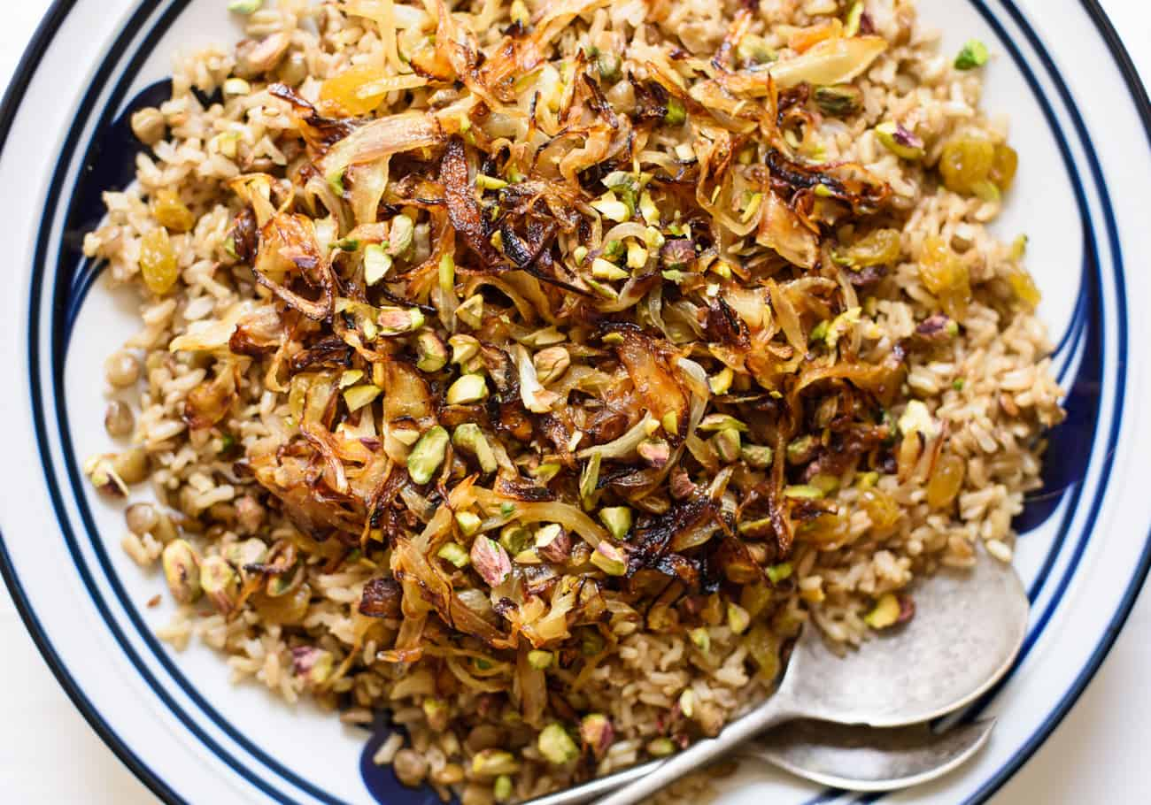 Close-up of Middle Eastern Mujadara (brown rice and lentils with fried onions)