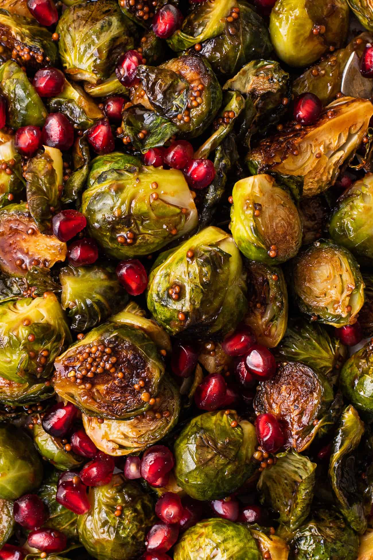 Roasted balsamic Brussels sprouts with in a mustard glaze with pomegranate seeds