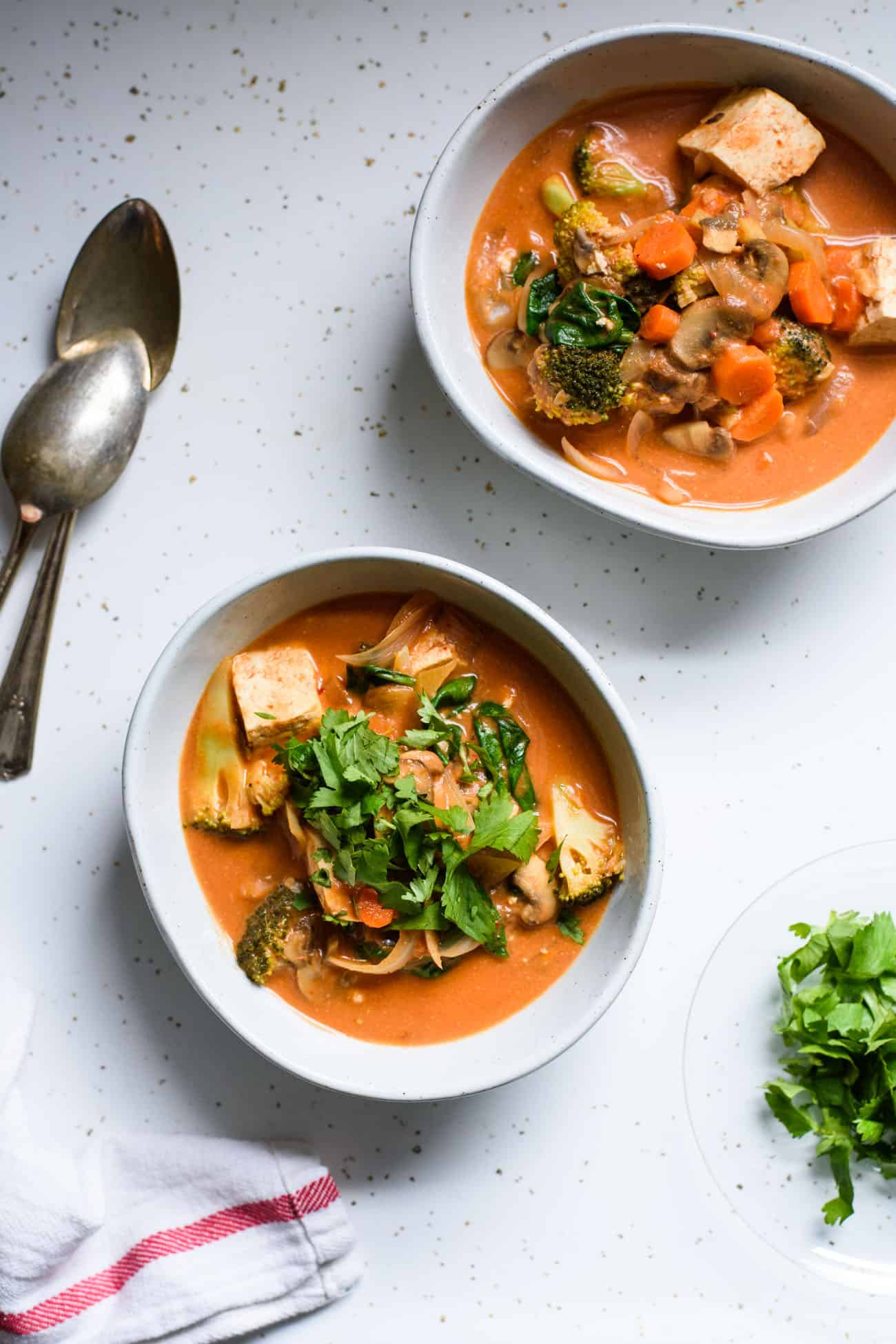Two bowls of vegan tomato coconut curry with vegetables and tofu on a kitchen counter