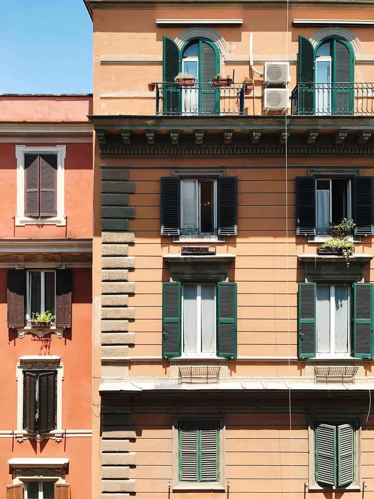 Building facade with shutters in Rome