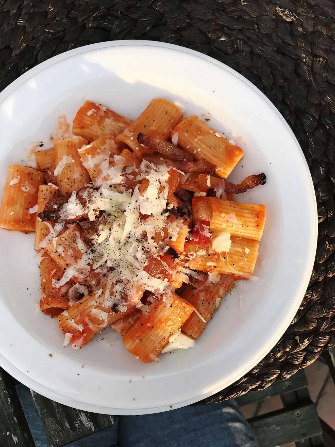 What to Eat in Rome: Recommendations for Pizza, Pasta & Gelato | Pasta Amatriciana at Merumalia resort in Frascati