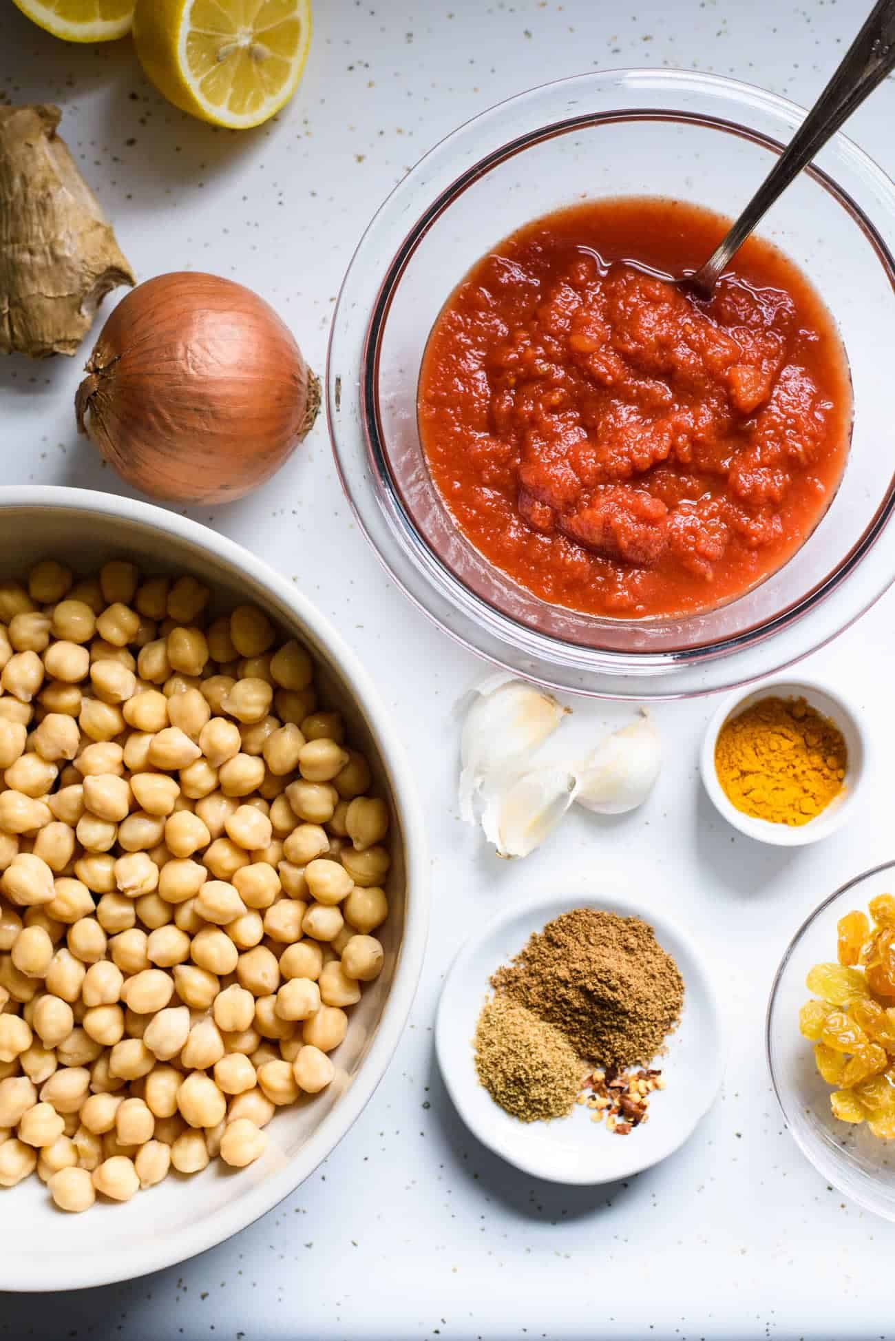 Ingredients laid out on counter for easy chana masala recipe