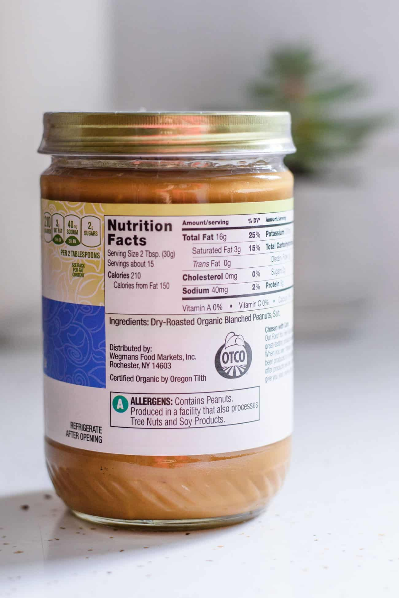 Close-up of a jar of peanut butter