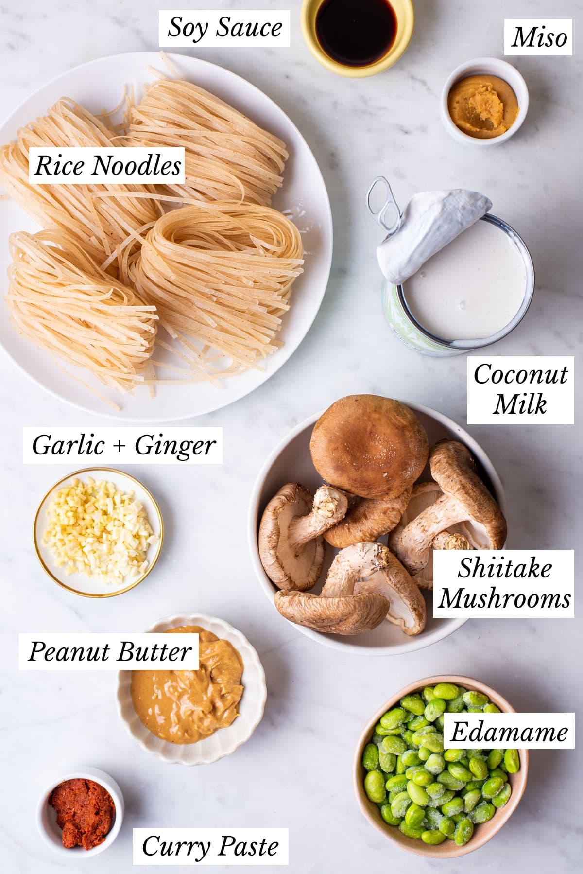 Ingredients gathered to make vegan peanut miso noodles.