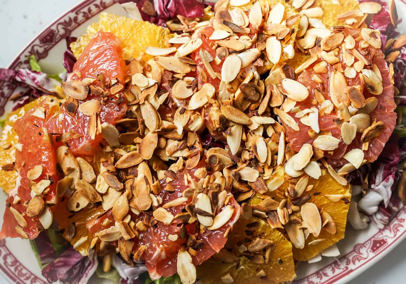 Endive and radicchio salad with oranges, grapefruit, and almonds