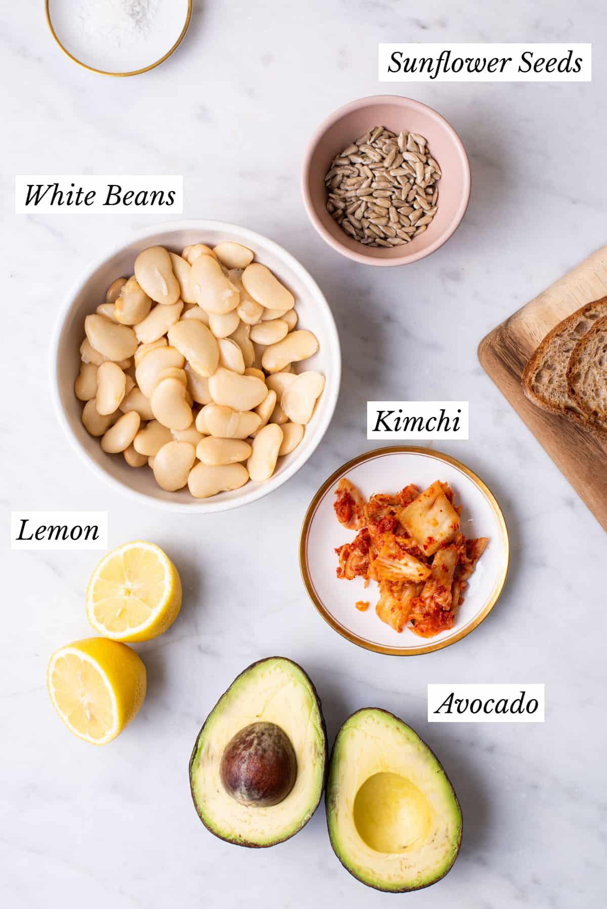 Ingredients gathered to make high protein avocado bean toast.