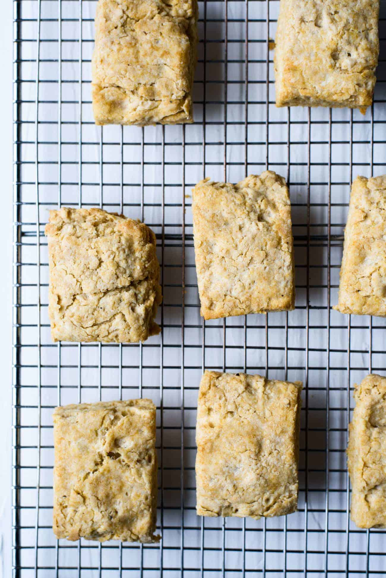 Vegan coconut oil biscuits on a cooling rack